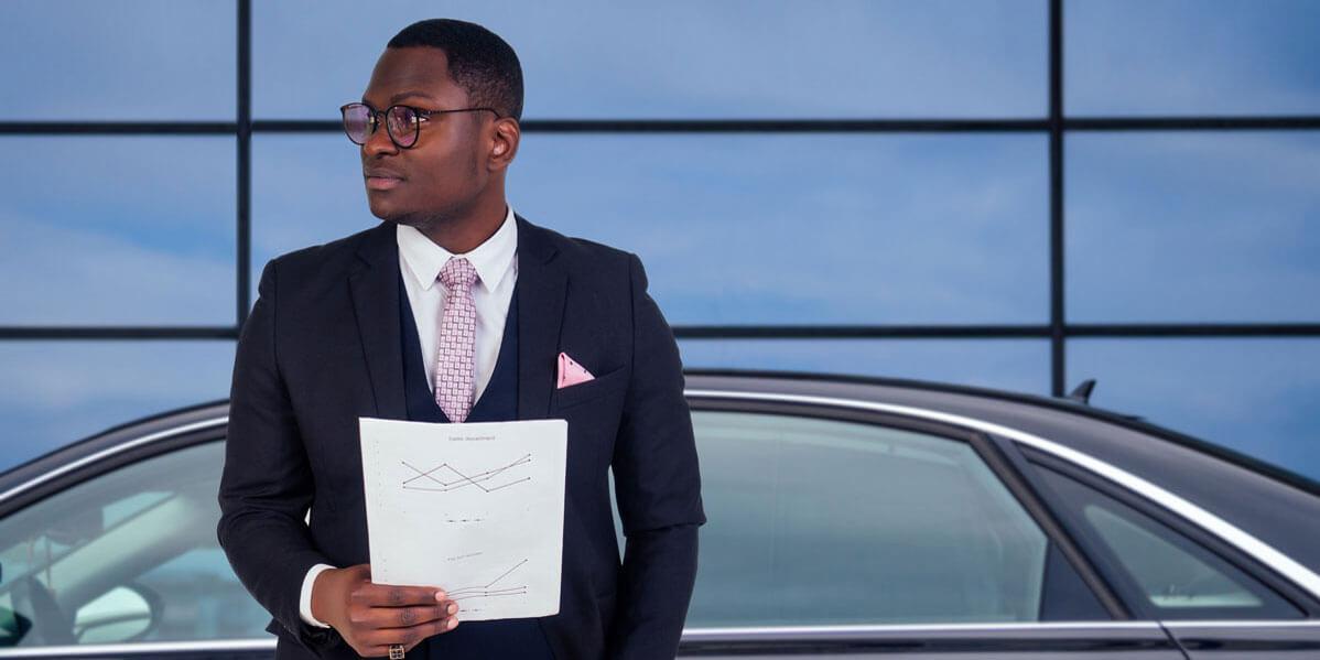 Smart Businessman Preparing Himself For Logistics Of Presenting