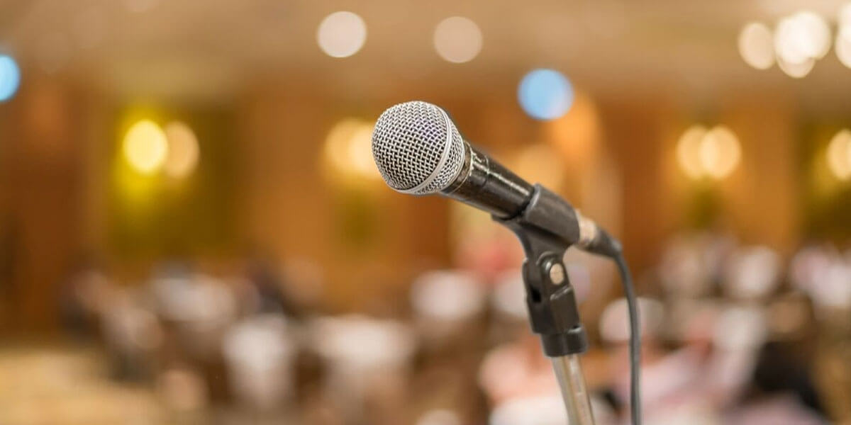 Microphone On A Stand Ready For Someone Who's Speaking At A Conference
